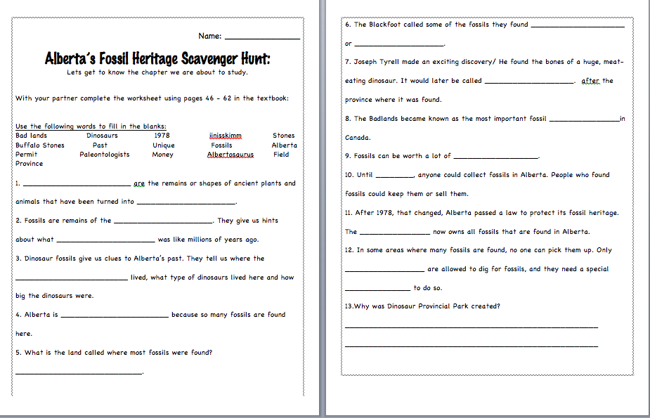 PS1 Education – Fossil Worksheet